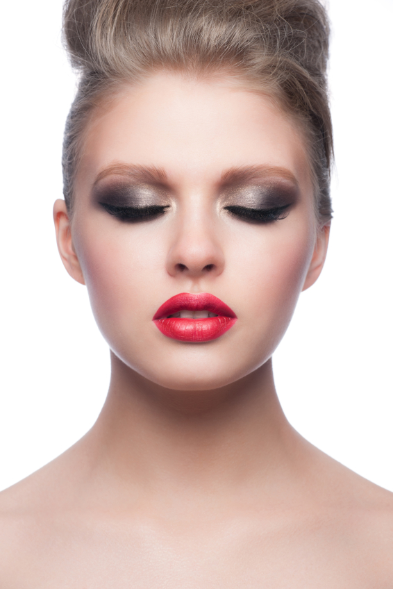 Makeup with red lipstick